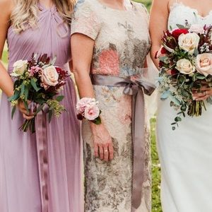 AdriannePapell petite floral matelasse column gown